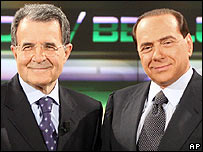 Romano Prodi (left) and Silvio Berlusconi before their TV debate on 03/04