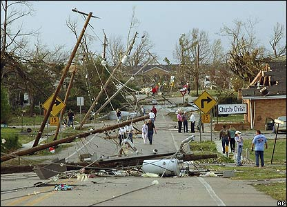 Residents assess damage after a severe storm in Marmaduke, Arkansas