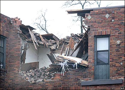 Interior of an apartment exposed after a building partially collapsed during a storm in Cincinnati