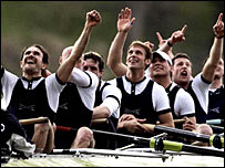 Oxford crew celebrate winning the Boat Race