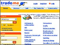 Screen grab of trademe website