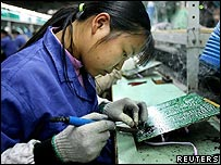 Chinese electronics factory worker