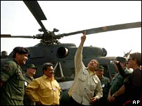 President Chavez inspects one of the MI-17 helicopters