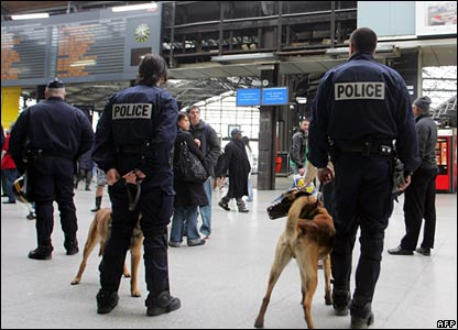 Policemen at a Paris station