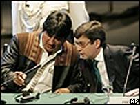 Evo Morales and Luis Alberto Moreno