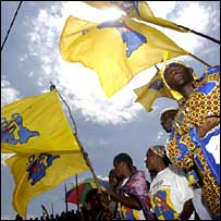 Ruling party supporters in Bukavu (Copyright Jose Cendon)