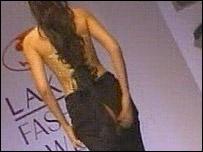 Model's skirt splits during the show