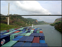 A container ship in the Panama canal