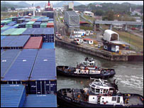 Two tug boats in the Panama Canal