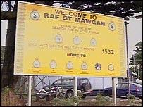 RAF St Mawgan base sign