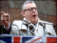 Ian Paisley addressing a rally in 1981