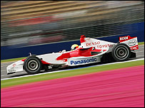 Ralf Schumacher on his way to third place in his Toyota at last weekend's Australian Grand Prix