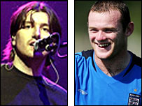 Danny McNamara from Embrace and England's Wayne Rooney