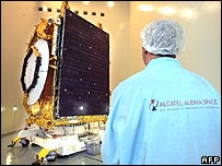 Worker making changes to a satellite