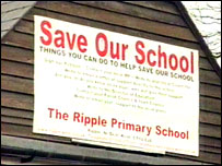 Protest banner at the Ripple School
