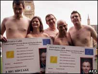 Anti-ID card campaigners stage nude protest, AFP/Getty