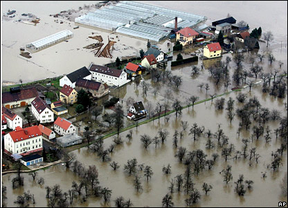 Aerial view of waterlogged town in eastern Germany