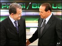 Centre-left coalition leader Romano Prodi (L) Prime Minister Silvio Berlusconi (R)