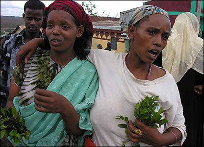 People holding khat (plant that when chewed is a stimulant)