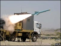 Iran tested a land-to-sea missile was tested earlier in the week