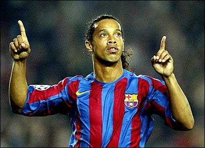 Ronaldinho celebrates scoring for Barcelona