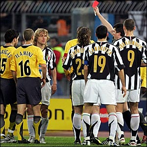 Pavel Nedved (third left) is sent off