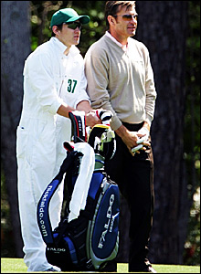 Nick Faldo and son Matthew at Augusta