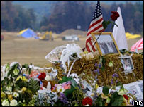 Tributes at the crash site in Pennsylvania
