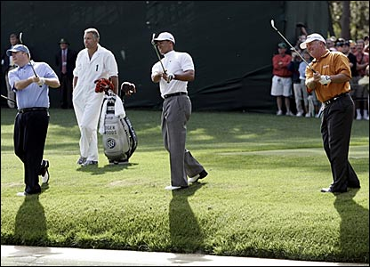 (l-r) Kevin Marsh, Tiger Woods and Mark O'Meara