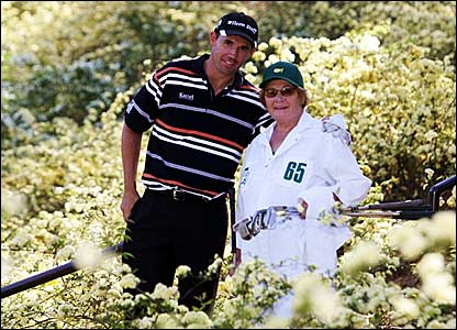 Ireland's Padraig Harrington with his mother who caddied on the final practice day