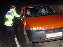 Police officer stopping traffic at Cellardyke near Fife, Wednesday 5 April 2006