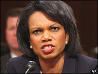Condoleezza Rice testifying before the Senate Foreign Relations Committee