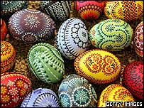 Easter eggs adorned in traditional German style