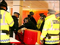 Police in McDonald's (picture courtesy of MEN Syndication)