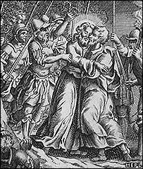 Engraving of Judas betraying Jesus