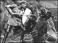 St George fights the dragon in a BBC television programme from 1950