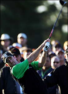 Australia's Rod Pampling tees off on the first