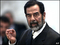 Saddam Hussein in court on Wednesday