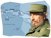 Fidel Castro and map of Cuba