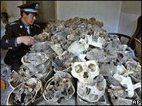 A policeman with the skulls