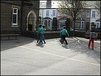 Pupils at a primary school in Cardiff