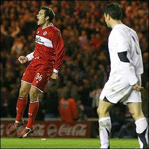 Mark Viduka celebrates scoring for Boro