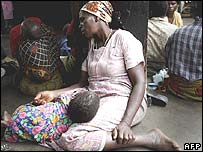A grandmother and grandson at a health unit in Malawi