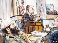 Court sketch of Moussaoui listening to testimony of Rudolph Giuliani