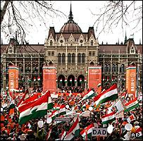 Political rally in front of the Hungarian parliament