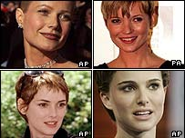 Clockwise from top left: Gwyneth, Kate, Natalie, Winona