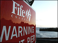 Sign in Cellardyke Harbour, Fife