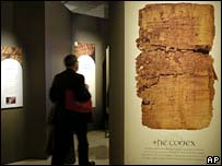 The Gospel of Judas exhibit at the National Geographic Society in the US