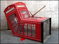 Banksy's phone box in Soho