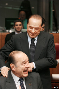 Silvio Berlusconi shares joke with French President Jacques Chirac, March 2006